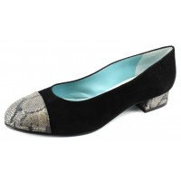 Thierry Rabotin Women's Nene In Black Suede/Snake Printed Leather