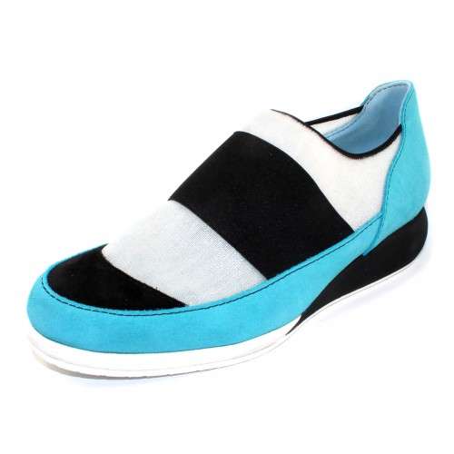 Thierry Rabotin Women's Parsons In Aqua Blue Suede/Black Suede/Black Elastic/White Stretch Mesh