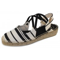 Toni Pons Women's Eden-Br In Ecru/Black Striped Fabric