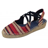 Toni Pons Women's Eden-Br In Red/Ecru/Navy Striped Fabric