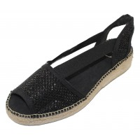 Toni Pons Women's Estel-S In Black Shimmer Fabric