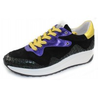 Vaddia Women's Charcoal In Black Suede/Croco Printed Leather/Metallic Purple/Gold Leather