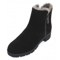 Valdini Women's Ivory Waterproof In Black Suede/Shearling