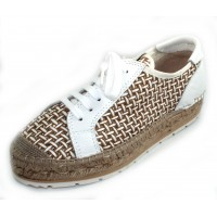 Vidorreta Women's Tenerife 04700 In Blanco/Tan Yalinca Embossed Woven Print Fabric/White Leather