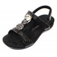 Vionic Women's Farra Lizard In Black Lizard Embossed Leather