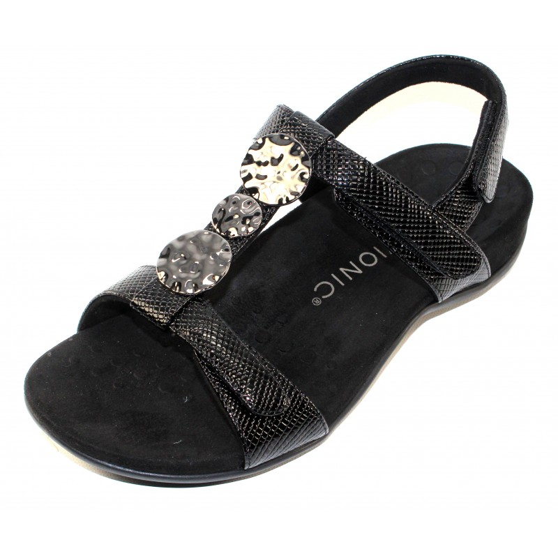 acf50301523d Vionic Women s Farra Lizard In Black Lizard Embossed Leather