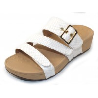 Vionic Women's Rio In White Snake Embossed Synthetic Leather