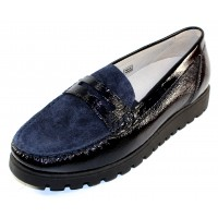 Waldlaufer Women's Eliza 549002 In Navy Crinkle Patent Leather/Shimmer Suede