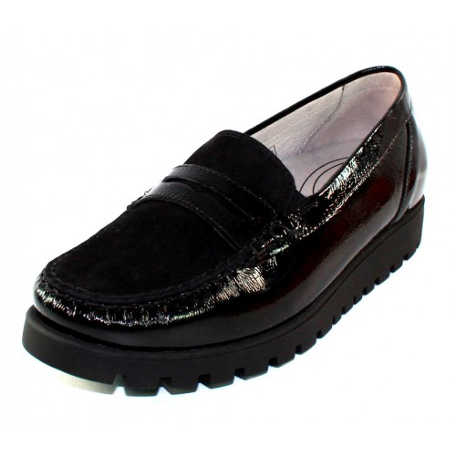Waldlaufer Women's Eliza 549002 In Black Crinkle Patent Leather/Suede