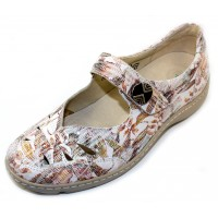 Waldlaufer Women's Jacee 496309 In Cement Meadow Printed Suede