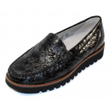 Waldlaufer Women's Liberty 926501 In Black Multi Croco Embossed Leather