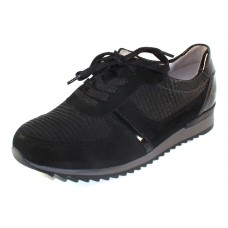 Waldlaufer Women's Odette 370004 In Black Suede/Embossed Suede