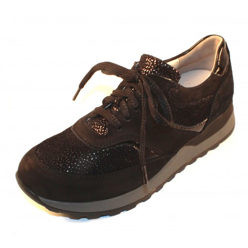 Waldlaufer Women's Pamela 364018 In Black Nubuck/Luminous Sparkle Embossed Suede