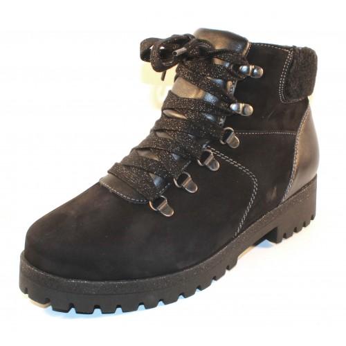 Waldlaufer Women's Sadie 338901 In Black Waterproof Nubuck/Leather