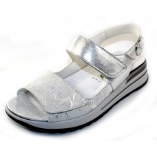 Waldlaufer Women's Gretta 315001 In Silver Metallic Swirl Embossed Suede/Leather