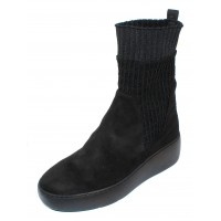 Wonders Women's A-8310 In Black Suede/Stretch Fabric